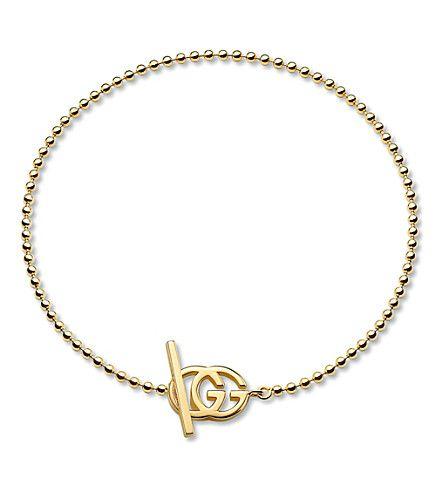 GUCCI Brand-motif 18ct yellow-gold bracelet (Yellow gold