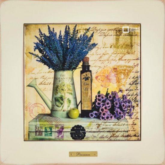 """#прованс #provence Картина на керамике в раме из натурального дерева """"Дарю тебе счастье..."""" 28х28см. Купить в Москве"""