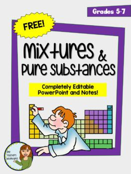 Mixtures and Pure Substances Lesson - PowerPoint and Notes. Completely Editable. Definitions and examples for mixtures, mechanical mixtures, suspensions, solutions, colloids, pure substances, elements, and compounds