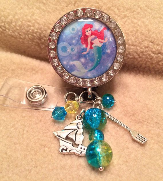Disney LIttle Mermaid (Ariel) inspired ID badge clip or reel, rhinestones, charms, beads - retractable with clip