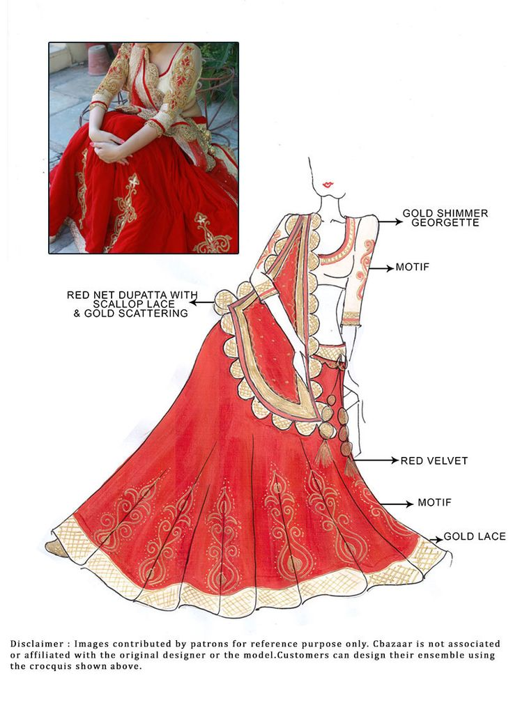 DIY Red Velvet Lehenga Choli