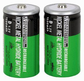Chicago Electric Power Systems 2 Piece D NiMH Rechargeable Batteries by Chicago Electric Power Systems. $9.99