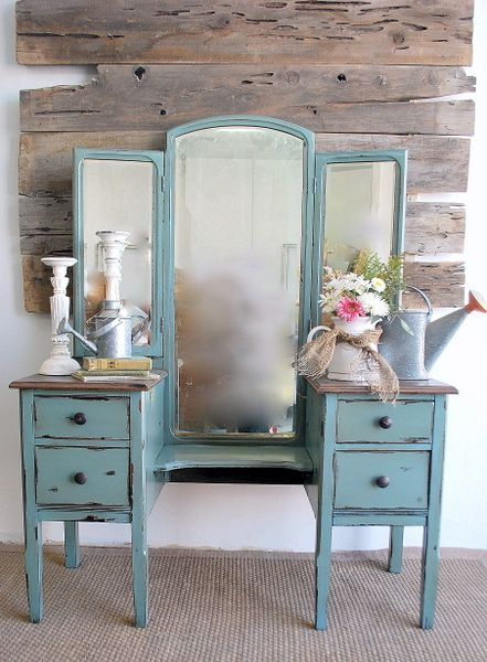 {Moody Blue Antique Vanity/Dressing Table} – Before & After - 365 Best Painted Furniture Images On Pinterest Paint Furniture