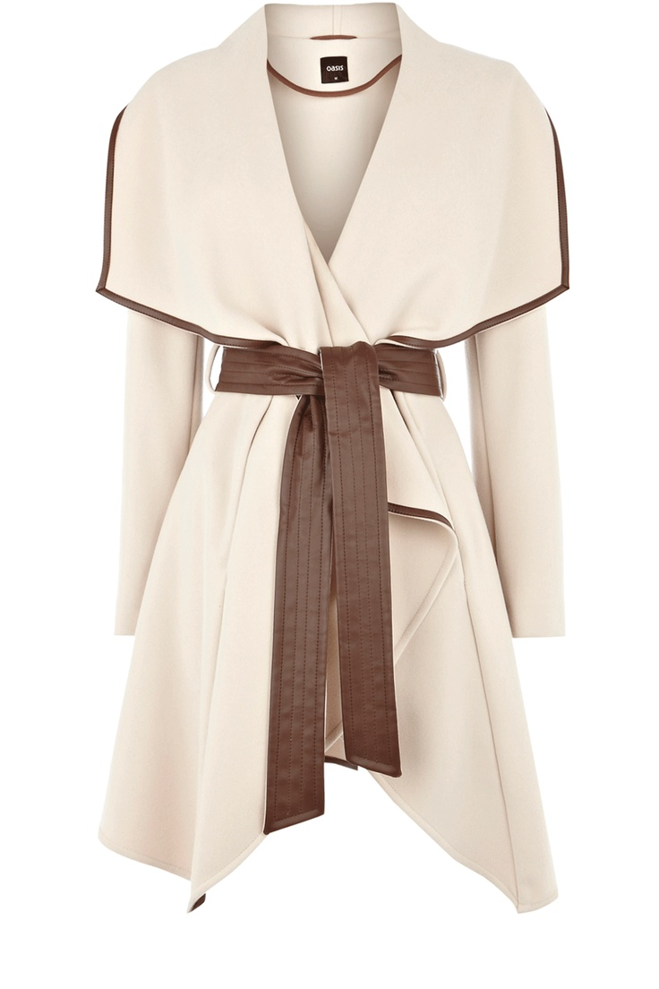 LOVE: Draping Coats, Cream Faux, Belts Draping, Draping Wraps, Faux Leather, Wraps Coats, Leather Trim, Trim Belts, Winter Coats