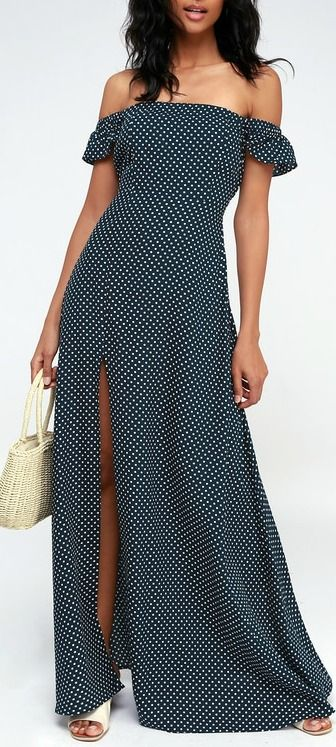 ab054ca34c1448 Dream Love Navy Blue Polka Dot Off-the-Shoulder Maxi Dress in 2019 ...