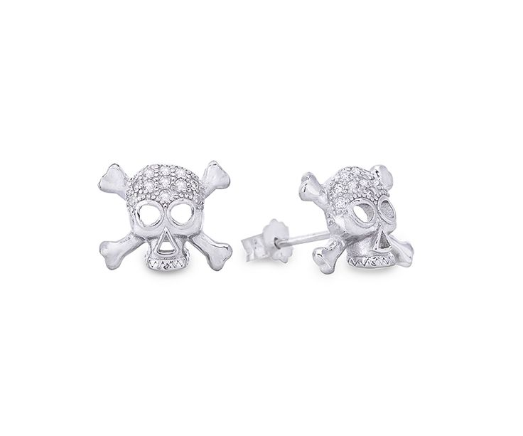 Schädel Ohrstecker aus Sterling Silber mit Zirkonia Kristallen / Skull sterling silver stud earrings with cubic zriconia.