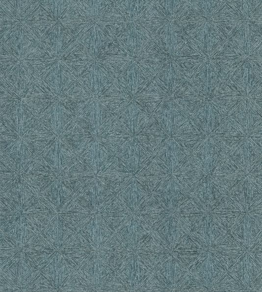 Crest Wallcovering A vinyl wallcovering with a pleasing design of triangular spirals, printed in teal with metallic silver highlights. The triangles, which are raised from the surface of the wallcovering, are composed of uneven lines which all feed into one another, resulting in a fascinating maze-like pattern.