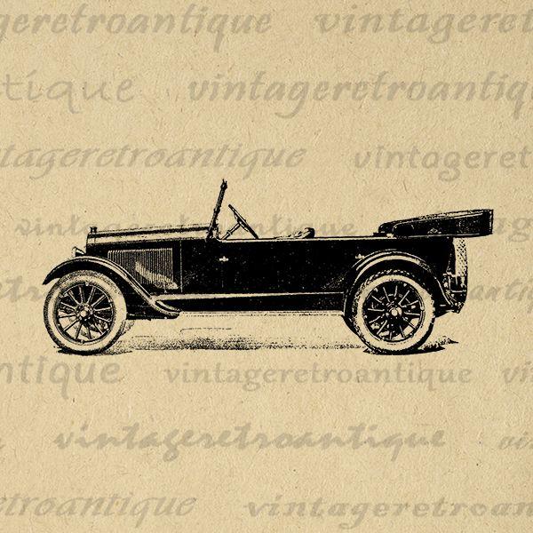 Printable Graphic Antique Automobile Old Car Download Digital