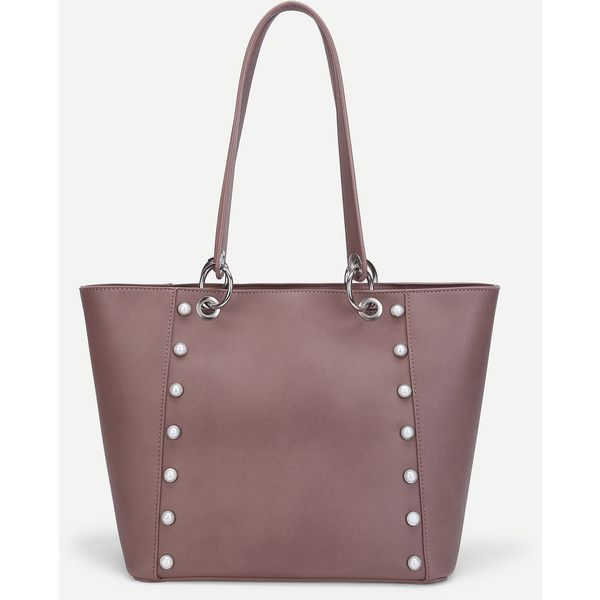 SheIn(sheinside) Faux Pearl Detail PU Tote Bag (40 BAM) ❤ liked on Polyvore featuring bags, handbags, tote bags, camel, camel tote bag, pu handbags, faux-leather handbags, white tote and white tote bag