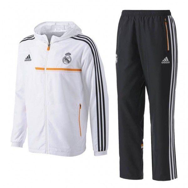 Chándal del Real Madrid 2013/14 llevate el conjunto completo con pantalón y chaqueta Chandal del Real Madrid en color Blanco y Negro