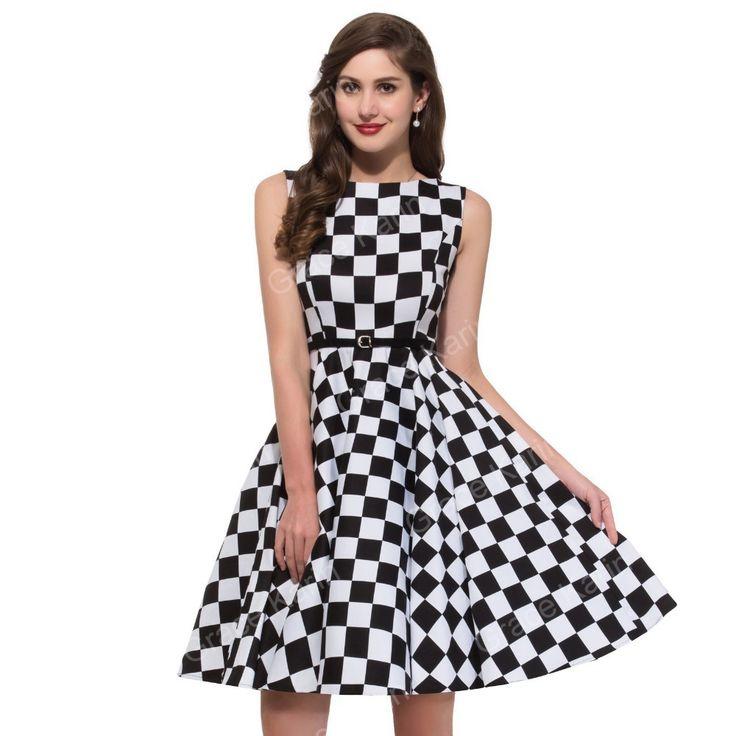 Knielanges Vintage Kleid Kariert