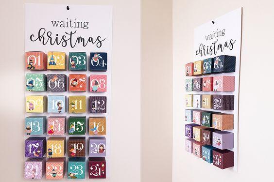 Calendrier de l'avent à imprimer DIY TUTO vidéo Fabrique ton calendrier de l'avent. Illustrations lutins de noel