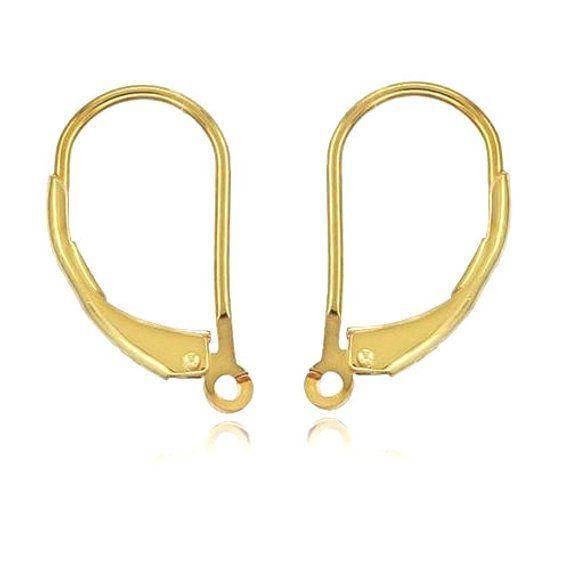 14k White Gold Polish Finish Girls Hoop Earring Lever-back Clasp