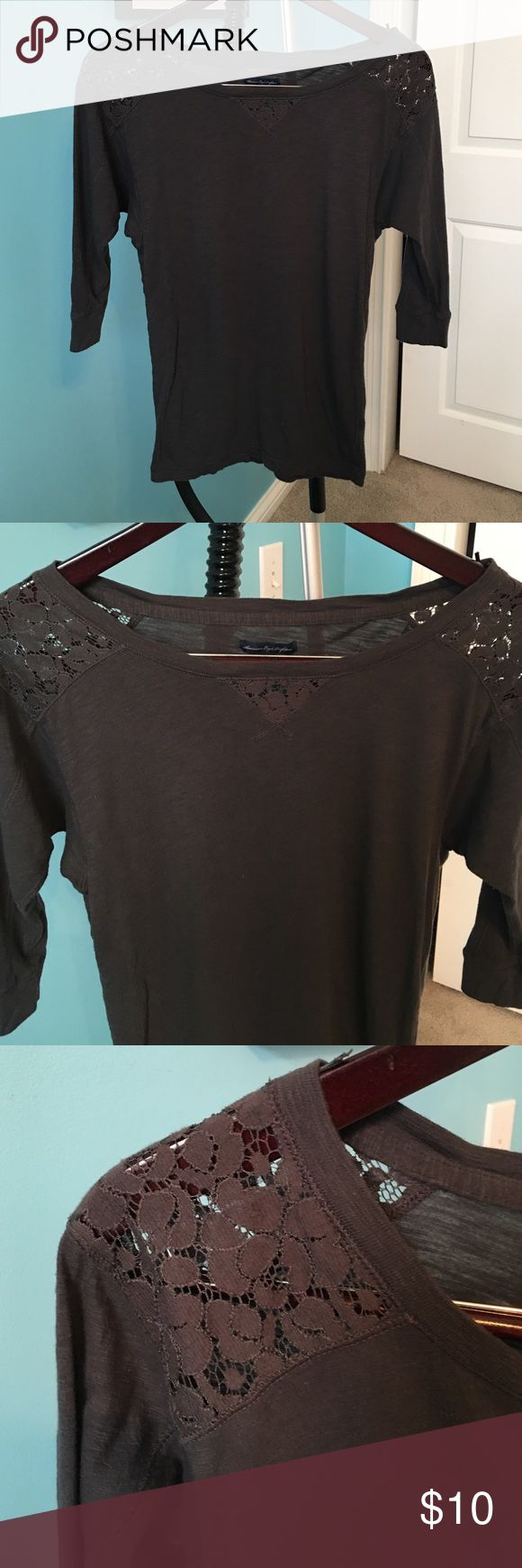 American Eagle 3/4 sleeve t-shirt with lace detail Very cute and super soft 3/4 sleeve long t-shirt with lace detail at the shoulder and neck American Eagle Outfitters Tops Tees - Long Sleeve