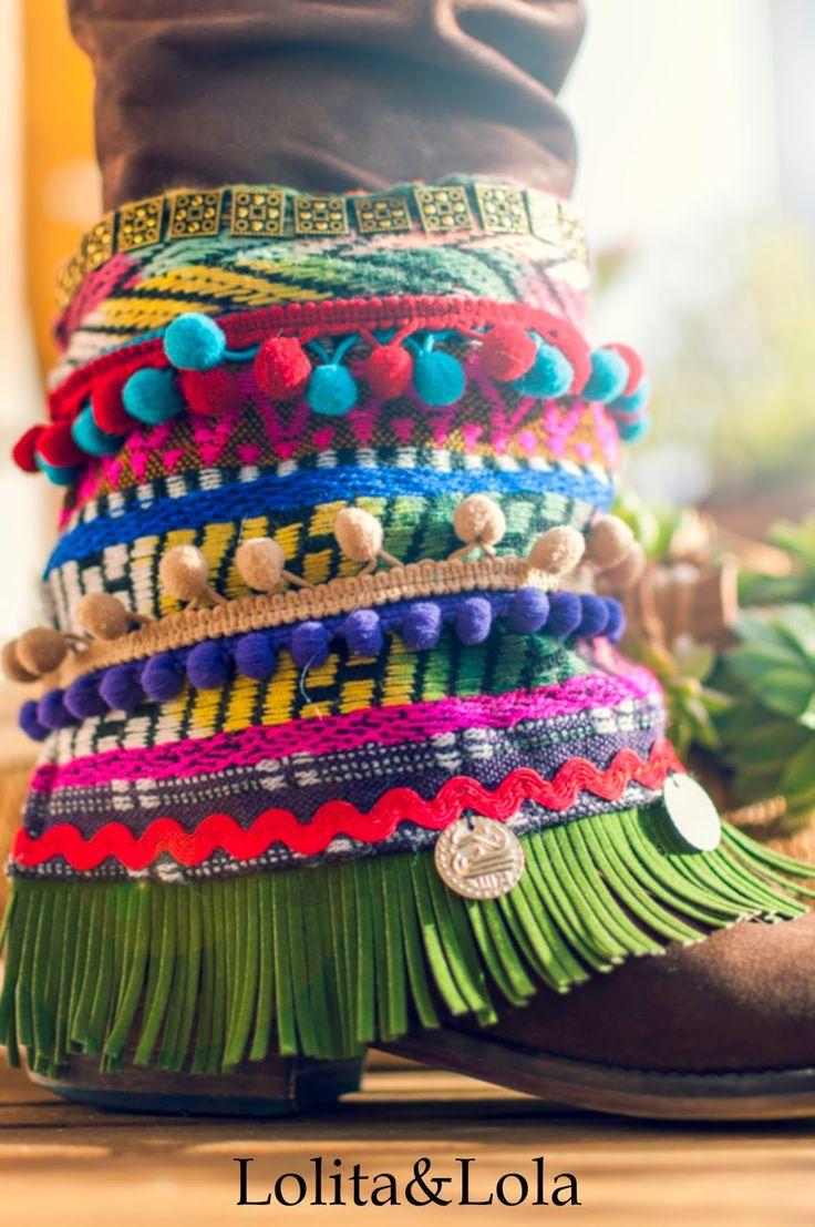 cubrebotas boho chic complementos moda  Boot cuffs fashion accessories alaolita&Lola: Cubrebotas Indi Chic.  Overshoes Indi Chic