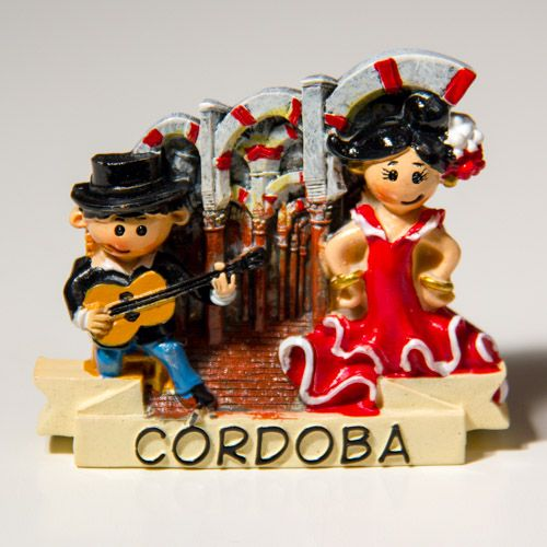 Resin Fridge Magnet: Spain. Cordoba. Arches and Columns of The Mosque - The Cathedral of Cordoba and Flamenco Actors