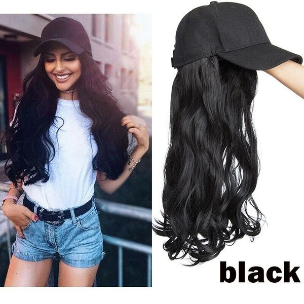 New Arrivals Baseball Hat With Hair Extensions Cap Wig Full Wigs 16 18 Real Hair Piece Long Curly Wavy For Women Full Wigs Hat Hairstyles Hair Extensions