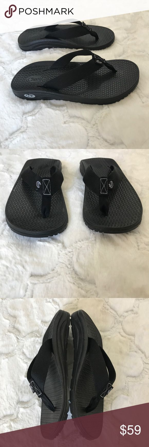 Chaco flip flops Women's 8 new black New with out tags Chaco black flip flops. No stains or tears. Perfect condition Chacos Shoes Sandals
