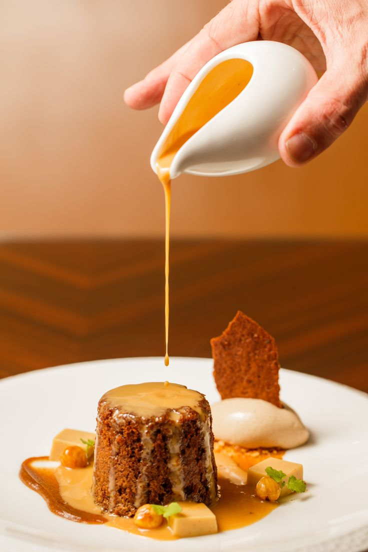 Bacchus South Bank | Dessert | Sticky date pudding with caramel panna cotta, hazelnuts, prune and armagnac ice-cream