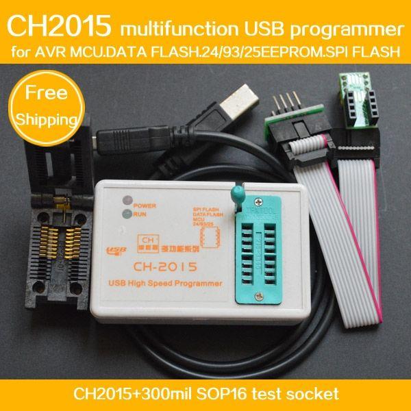 55.00$  Watch now - http://ali0ra.worldwells.pw/go.php?t=32552437551 - FREE SHIPPING!Program CH2015 USB High speed programmer+300mil FP16 to DIP8 socket eeorom/spi flash/data flash/AVR MCU programmer