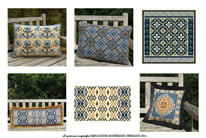 Blues with sand colors - cross-point kits for pillows and upholstery. Details on the blog at http://cross-pointblog.com