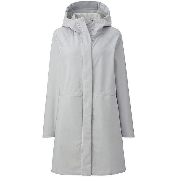 UNIQLO BLOCKTECH Hooded Rain Coat (6.075 RUB) ❤ liked on Polyvore featuring outerwear, coats, hooded coat, zip coat, long coat, long waterproof coat and waterproof coat
