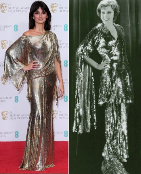 """Izquierda, Penélope Cruz en la alfombra roja de los premios #Bafta2017 luciendo una creación de Versace. A la derecha, Jeanette MacDonald como la condesa Helene Mara en """"Monte Carlo"""" (1930) con un vestido diseñado por Travis Banton."""