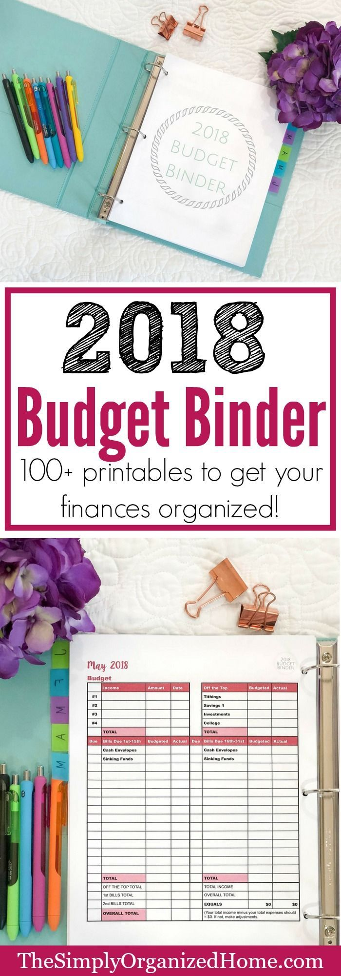 Are you tired of not knowing where your money is going? Finally take control of your finances with the 2018 budget binder! Grab yours here!