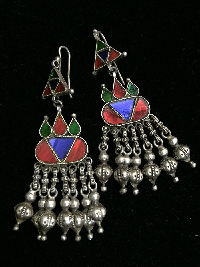 Multicolor Ghungroo Glass Silver Earrings