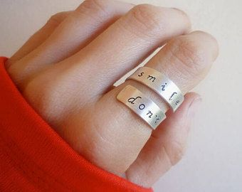 Don't Forget to Smile Wrap Ring - Adjustable Sterling Silver Ring