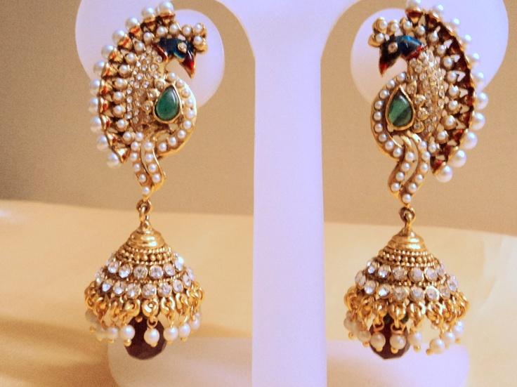 peacock stylo polki danglers-Jewellery-Runjhun Designer Jewellery and Tanjore Craft