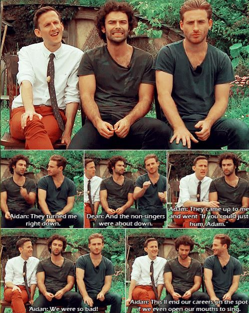 "Adam Brown, Aidan Turner, and Dead O'Gorman on singing in The Hobbit. // ""Hahaha, Aidan's face in that top frame!! He and Dean look like two kids that were pulled off the playground and made to sit still and talk, while Adam just happily sits there like the natty little Englishman that he is!"""