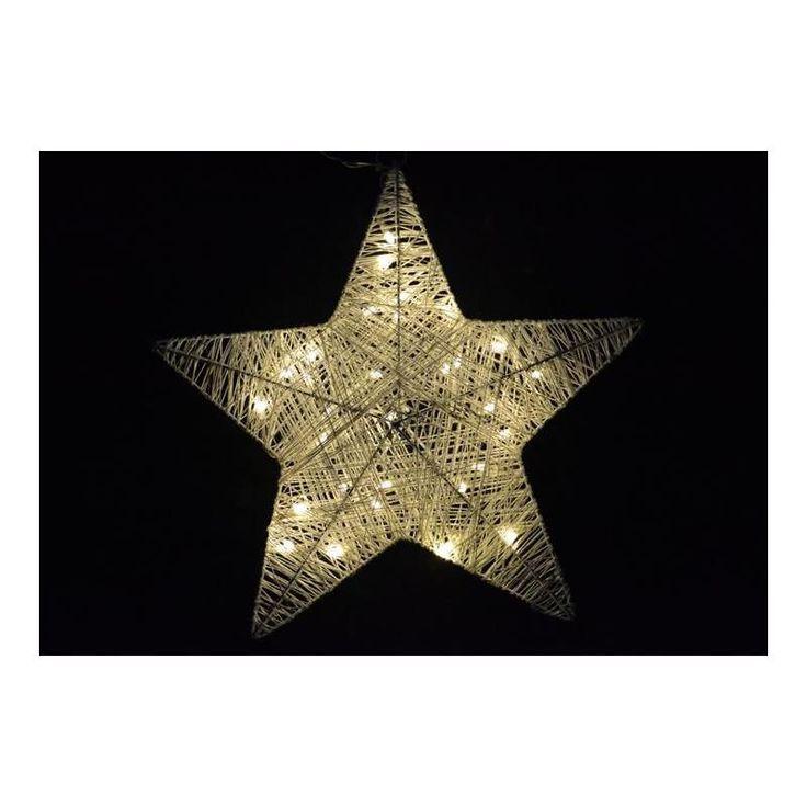 Vánoční interiérová dekorace svítící hvězda 35 cm, 30 LED, na baterie - www.guge.cz