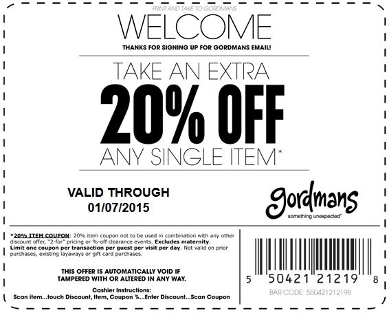 Pinned December 20th: Extra 20% off a single item at #Gordmans #coupon via The #Coupons App