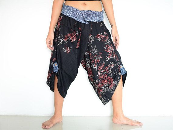 Harem pants men women black, Samurai pants, Ninja pants, unique wrap pants handmade from cotton
