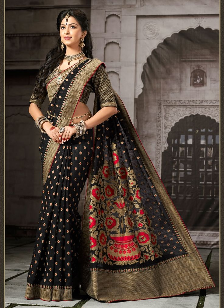 Be an angel and create and ascertain a smashing effect on every single person by carrying this black cotton   designer saree. The brilliant attire creates a dramatic canvas with remarkable embroidered...
