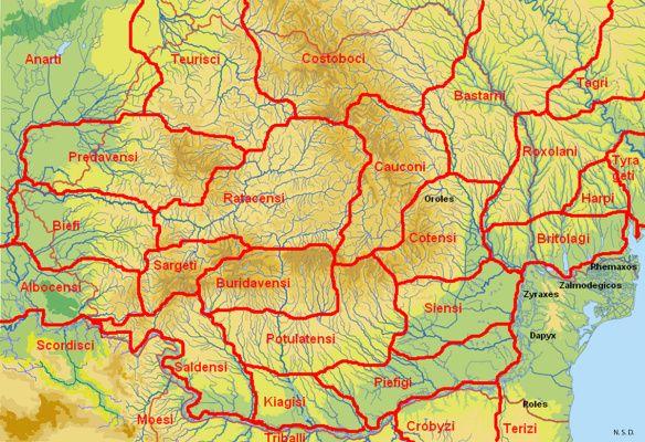 DACIA , MY  COUNTRY !   ] HARTA AREALELOR GEOGRAFICE ALE TRIBURILOR DACICE « CER SI PAMANT ROMANESC