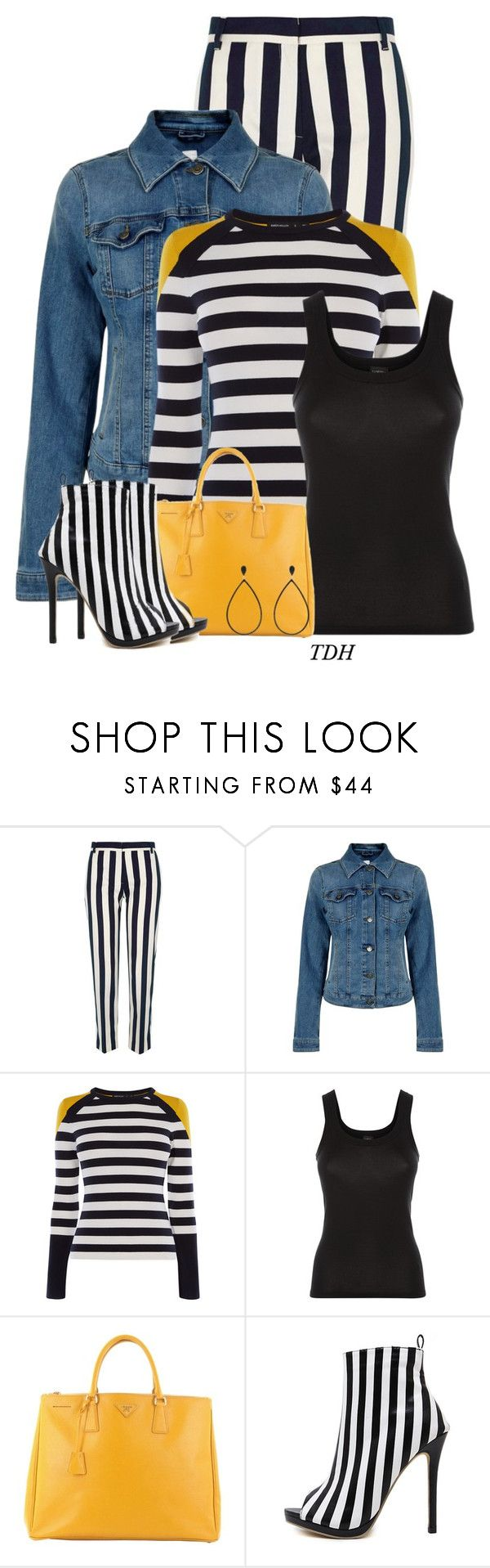 """Stripes on Stripes"" by talvadh ❤ liked on Polyvore featuring River Island, BOSS Orange, Karen Millen, La Perla, Prada, WithChic and Effy Jewelry"