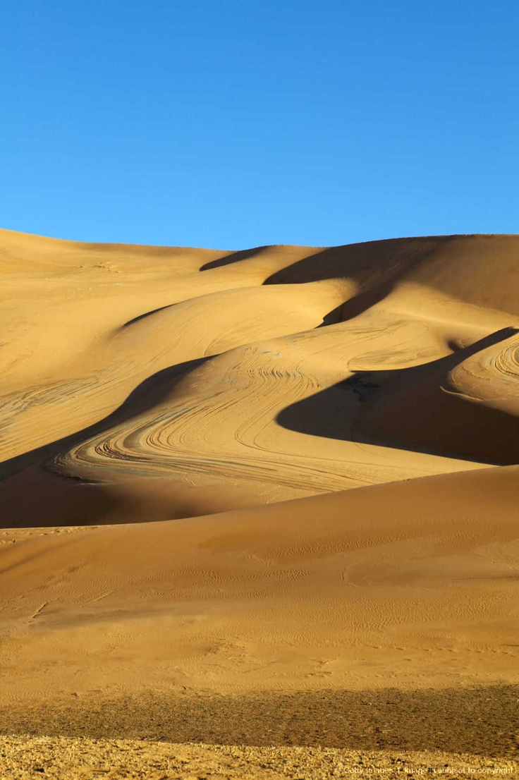 Blue sky and desert sand dunes. Coro, Falcon state.