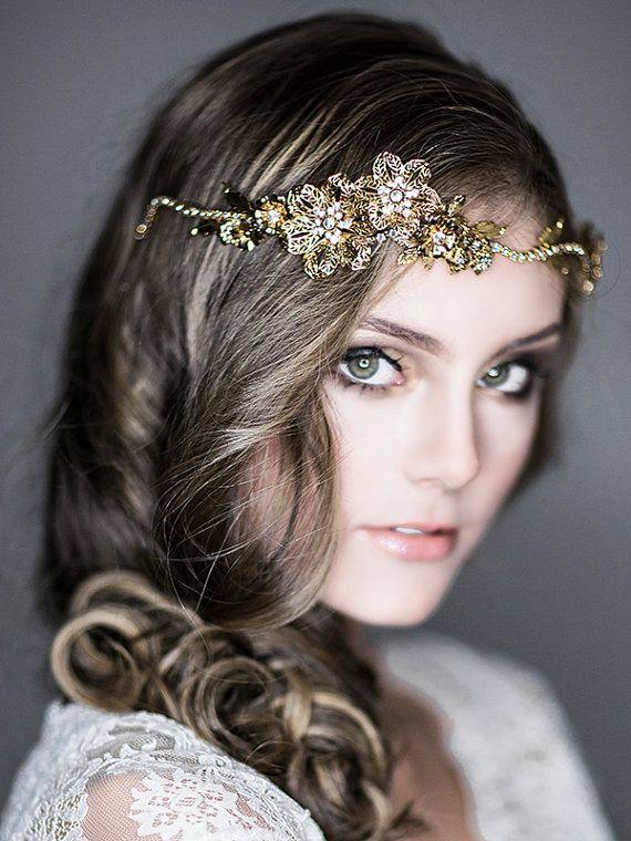 wedding headband bridal hair accessories swarovski crystal headband wedding flower and leaf hair