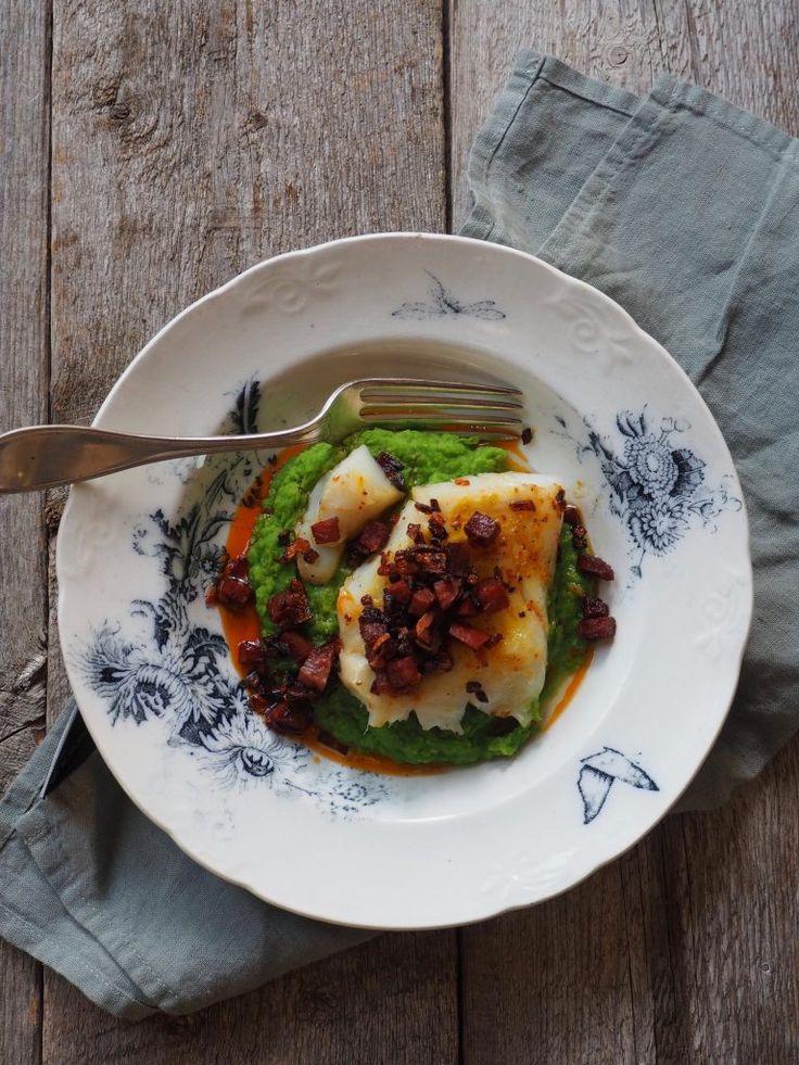 Stekt torsk med chorizo og ertepuré
