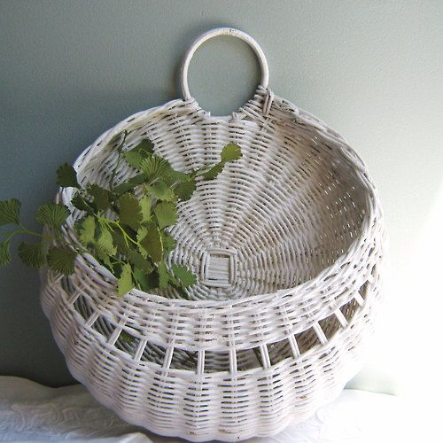 Shabby Chic White Willow Basket for Flowers or Mail - mockingbirdcreations