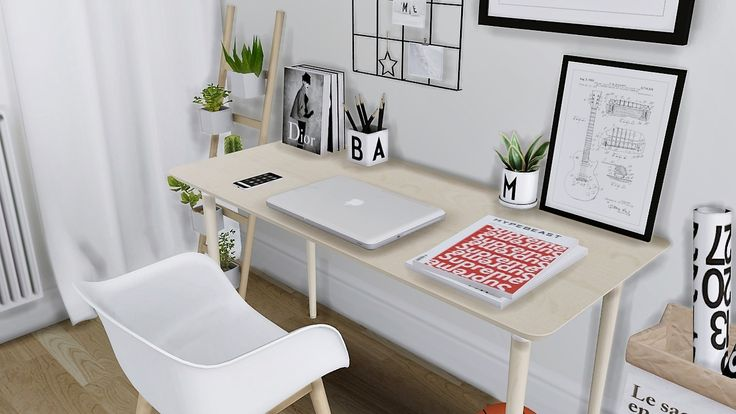 Thorne Bedroom • IKEA Tarva Bed • IKEA Hilver Desk • Muuto Fiber Chair • CB2 Arc Copper Lamp • IKEA Barso Wall Grid ( Mesh edit and recolors ) • 30x40 Wall and Table Frame • 50x70 Frame • Hypebeast...