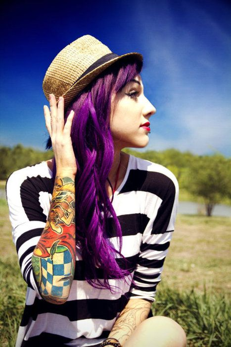 hair: Purple Hair, Hairstyles, Tattoo Sleeve, Hair Colors, Haircolor, Beautiful, Purplehair, Hair Style, Colors Hair