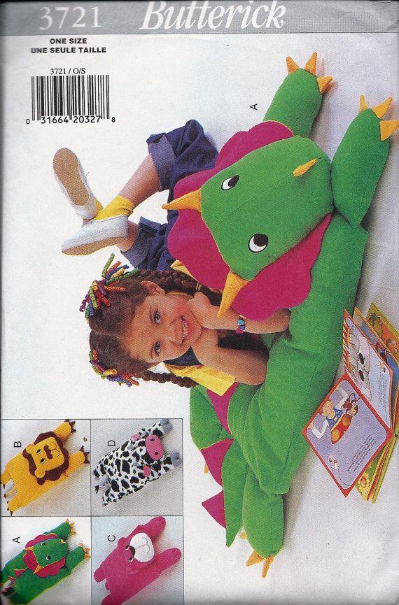 Butterick 3721 pattern kids Animal Pillow Covers Cow Lion Bear Dinosaur Triceratops Stuffed Animal Plush Toy