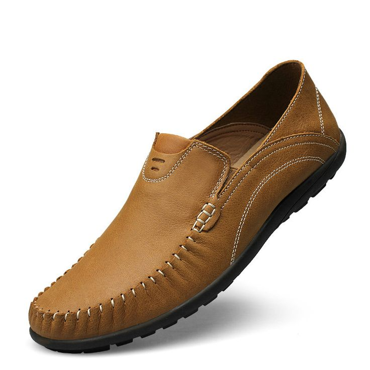 Men Casual Shoes Real Leather Masculino Fashion Slip On Ayakkabi Formal Calzado Hombre Size 37 to 45 46 Light Brown Khaki Blue