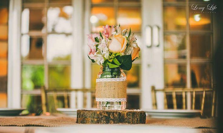 Arranjo de mesa - Casamento final de tarde