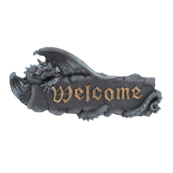 """15263+Dragon+Welcome+Plaque Give your guests a legendary welcome they won't soon forget with this medieval welcome plaque mounted near the entrance of your castle. The plaque is finished in black with """"welcome"""" in antique golden medieval lettering."""