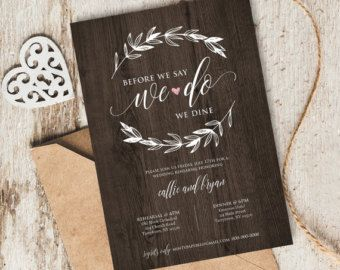 Rehearsal Dinner Invitation Rustic Rehearsal by ClearyLane on Etsy