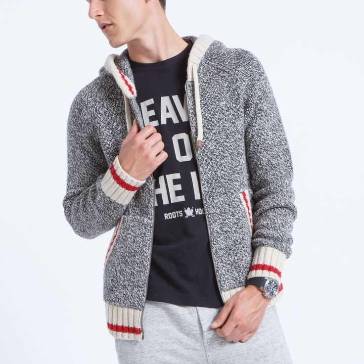 Men's Roots Cabin Raglan Hoody - F/W 2015/2016, style 01050325, Grey Oat Mix